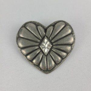 Vintage Ege 89 Pewter Heart Brooch